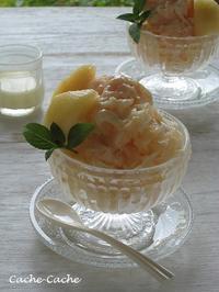 桃を凍らせてふんわり♪ 桃とミルクのかき氷 - Cache-Cache+