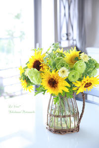 Basicクラスのひまわりアレンジ - Le vase*  diary 横浜元町の花教室