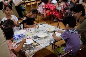 幼稚園の子供夏まつりを参観 -