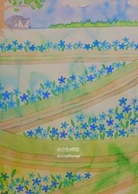 青い花が咲く道 - 水の色時間
