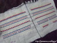 作品展用 小棗用仕覆生地の菱刺しを進める - ロシアから白樺細工