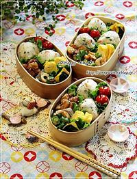 おにぎり・鶏肉とジャガイモの照焼きマヨ弁当と今日のわんこ♪ - ☆Happy time☆
