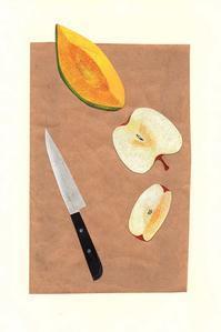 果物ころころ 切り絵コラージュ - 手製本クリエイター&切絵コラージュ作家 yukai の暮らしを愉しむヒント