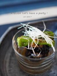茄子とししとうの揚げ浸し~「7月のテーブルコーディネート&おもてなし料理レッスン」より - ATELIER Let's have a party ! (アトリエレッツハブアパーティー)         テーブルコーディネート&おもてなし料理教室