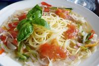 ベジタリアンのおもてなし朝ご飯【梅トマジュレかけ ノンオイルのスープパスタ】 - 「料理と趣味の部屋」