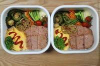 スパム丼とゴーヤー麩チャンプルーのお弁当(沖縄) - オヤコベントウ & コトリのおはなし