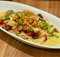 ローストポークと彩り野菜のとうもろこしソースパスタ@Afternoontea Tearoom - れしぴこ的 無駄なあがきっ!