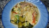 沖縄麩と豚肉の卵とじ・素焼きの塩ポットでいつもサラサラ - 娘といっしょ