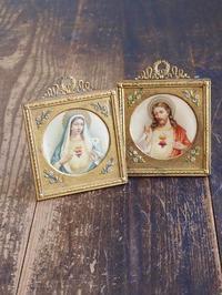 イエスキリストと聖母マリア像  フレーム 2点1組  /631 - Glicinia 古道具店