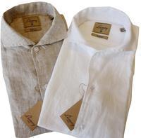 CIT LUXURY チット・ラグジュアリー リネンイタリアンカラーシャツ GNICO ホワイト・カーキ - 下町の洋服店 krunchの日記