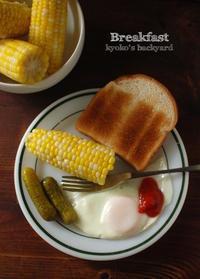 旅行から戻ってきたあとの朝食(と猫) - Kyoko's Backyard ~アメリカで田舎暮らし~