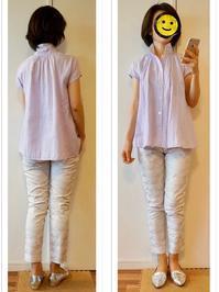 オフィス着 : 紫シャツ&白パンツ - Mirror Mirror...