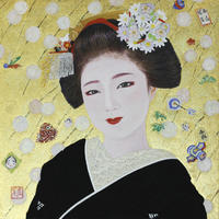 「上七軒 初春」3号S 日本画 岩絵の具 箔 紙本 - 黒川雅子のデッサン  BLOG版