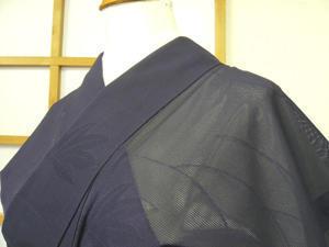 紺色の紗の着物 -