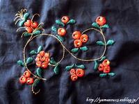 作品展用 茶碗用仕覆のための刺繍蔓に入る - ロシアから白樺細工