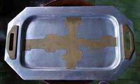 アールデコ厚手アルミ長方形トレイ - スペイン・バルセロナ・アンティーク gyu's shop