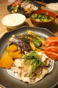豚しゃぶと夏野菜の焼き浸し - 週末は晴れても、雨でも