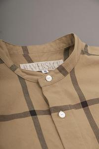 HAVERSACK  Band Collar Check Shirt (Beige) - un.regard.moderne
