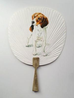 犬の似顔絵うちわ - 油絵画家、永月水人のArt Life