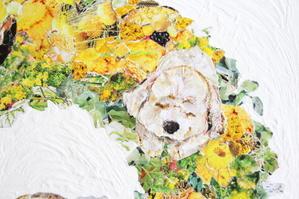 愛犬とリース - ちぎり絵日記