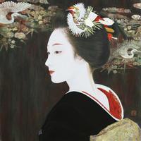 「先笄」日本画 10号S(53×53㎝) 岩絵の具 箔 紙本 - 黒川雅子のデッサン  BLOG版