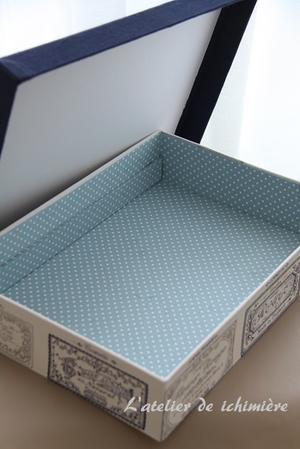 かぶせ蓋の箱/キットLessonの説明 <Aug.19> - ichimiereカルトナージュと手づくりの時間