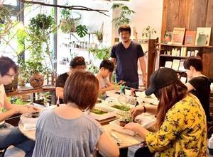 夏休み苔玉盆栽作り -