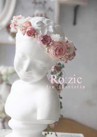 2017.8.20 アシンメトリー&ワンポイントデザイン シックなピンクの花冠とリストレット/プリザーブドフラワー - Ro:zic die  floristin