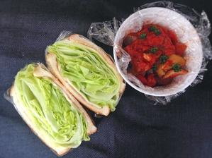8/21 もりもりレタスサンドイッチ弁当 - ひとりぼっちランチ