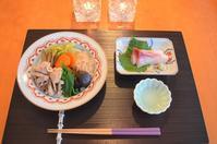 豚肉と野菜の炊き合わせ/みかんブリのお刺身 - まほろば食日記