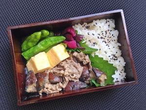 8/23 茄子と牛小間の醤油マヨ炒め弁当 - ひとりぼっちランチ