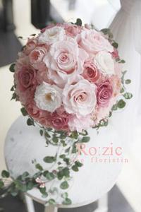 2017.8.23 花冠とおそろいで シックなピンクのブーケ/プリザーブドフラワー - Ro:zic die  floristin