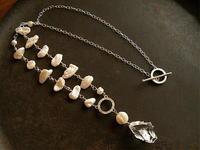 クオーツ×パール ネックレス - 石と銀の装身具