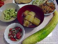 頂き物家庭菜園の野菜で夕食を - これ旨いのか?