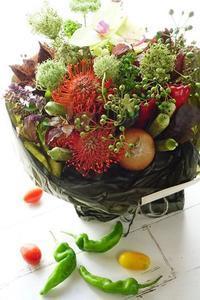 ハーベストコンポジション(お野菜さんありがとうアレンジメント) - お花に囲まれて