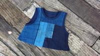 藍 接ぎ合わせ 被りベスト - 古布や麻の葉