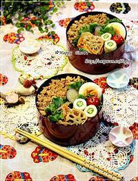 段々鶏そぼろ弁当と今日のワンコ♪ - ☆Happy time☆