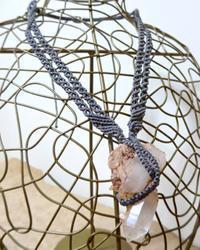 【マクラメ&ヘンプ】#157 クラスター水晶のネックレス - Shop Gramali Rabiya (SGR)