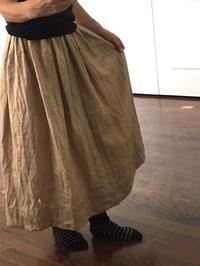 麻をくるみの果肉で草木染めし、スカートを作ってみました。 - 玄米菜食 in ニュージャージー