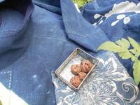 チュニック、葡萄ストラップ、刺し子用型染め、・・綿取り中の藍染・・すべて現在進行中 - 藍ちくちく日記