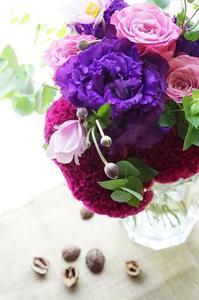 秋明菊とロゼビューティーのブーケ&パリからのお福わけ - お花に囲まれて