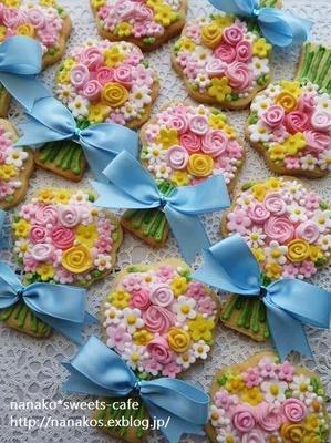 お花のアイシングクッキーラッピング - nanako*sweets-cafe♪