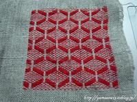 針山用布地比較の菱刺し少しずつ - ロシアから白樺細工