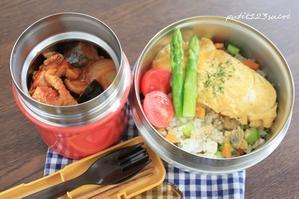 チキンのトマト煮&アサリオムご飯弁当 - 男子高校生のお弁当