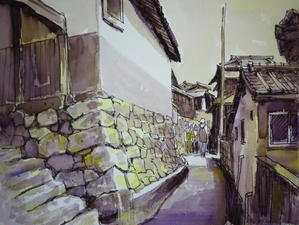 2色で描いた風景画 - tedkimotoの水彩画