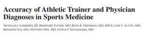 スポーツ医療におけるATと医師の診断力はどれほど差があるのか。 - Innervate The World!