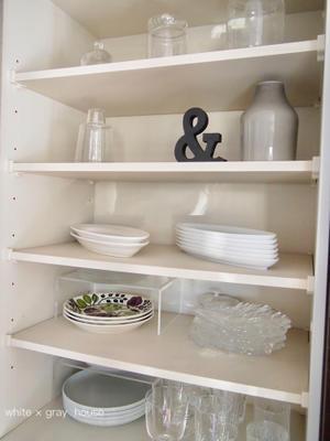 食器棚収納 * オープン部分(´∀`)♪ - 白×グレーの四角いおうち