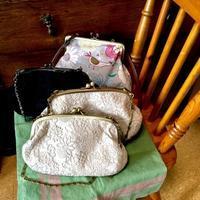 刺繍レース生地のがま口バッグ - nui アワセ