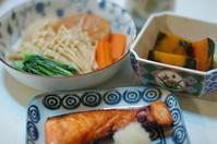 夕ご飯/塩鮭・銀杏入りがんもと野菜の煮物・その他 - おいしい日記
