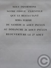 ■庶民の味方もヴァカンスへ(パリ) - フランス美食村